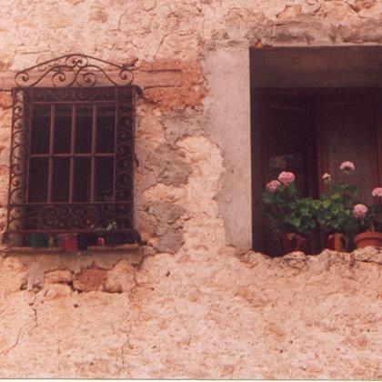 Geranios en ventana